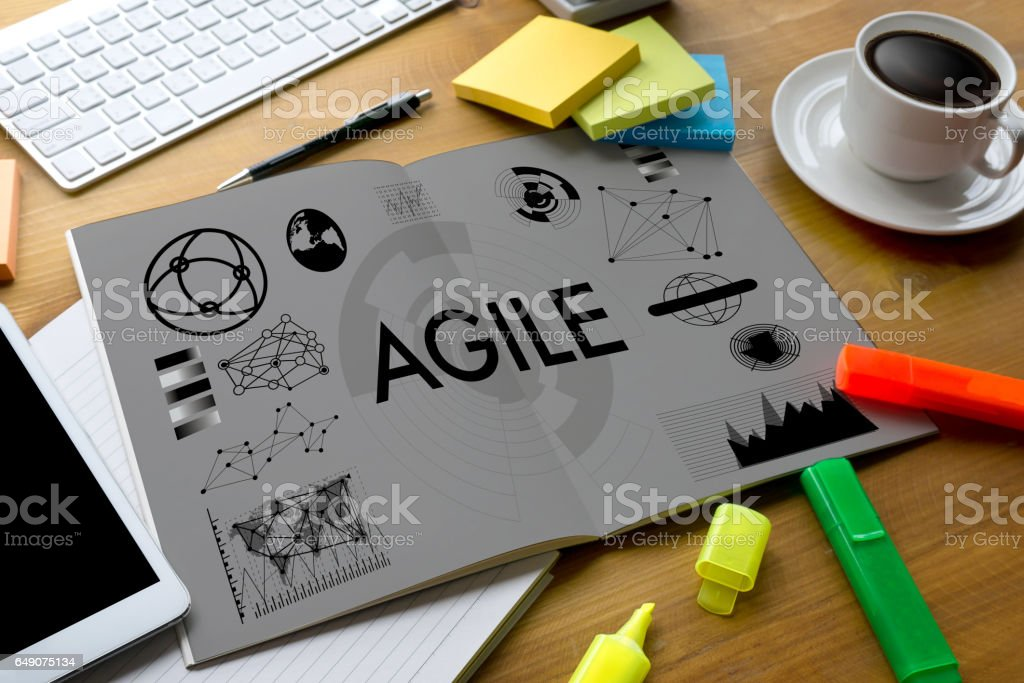 Agile Agility Nimble Quick Fast Concept businessman working use smartphone on blurred abstract background stock photo