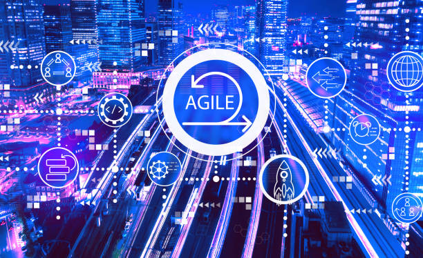 Agile concept with a large train station in Tokyo, Japan stock photo