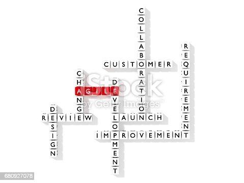 istock Agile development crossword puzzle business concept flat design 680927078