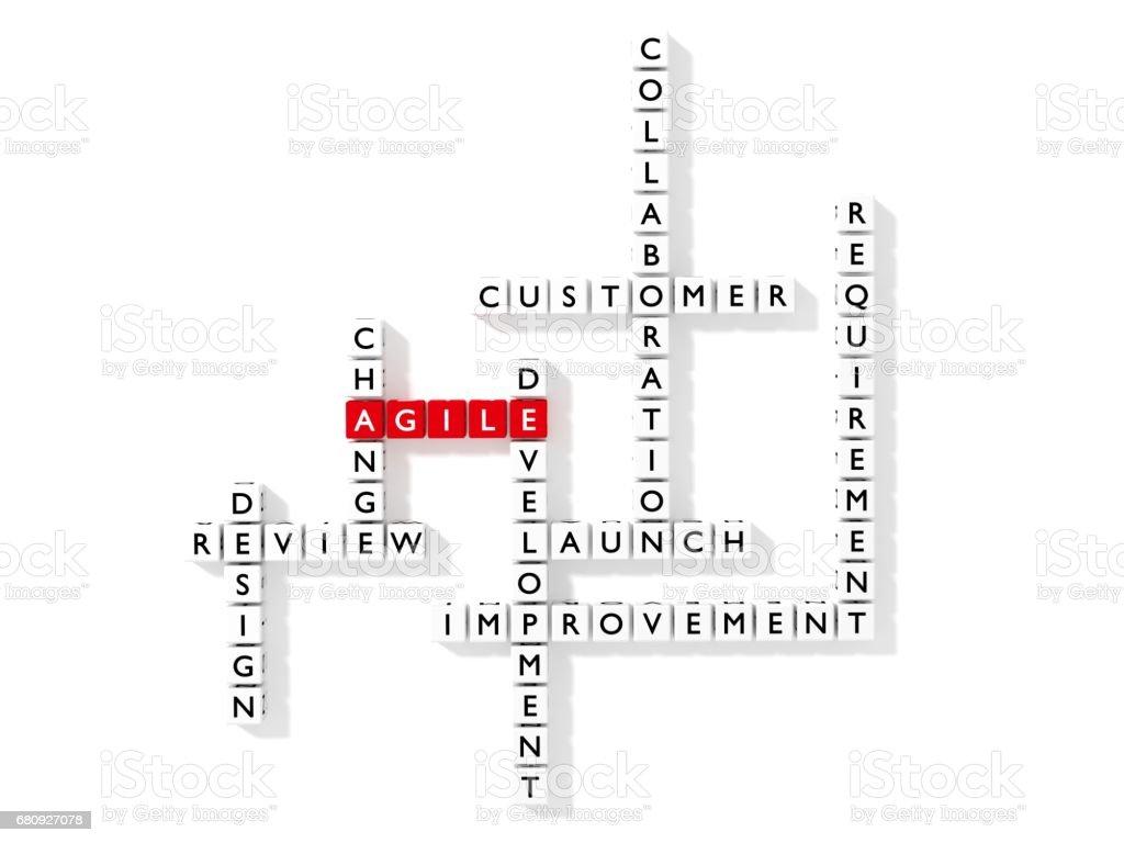 Agile development crossword puzzle business concept flat design stock photo