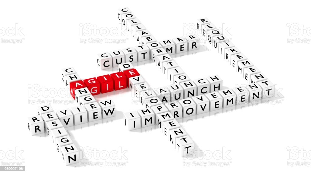 Agile development crossword puzzle business concept stock photo