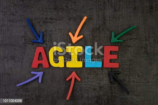 istock Agile development, new methodology for software, idea, workflow management concept, multi color arrows pointing to the word AGILE at the center of black cement chalkboard wall, fast and flexible 1011004008