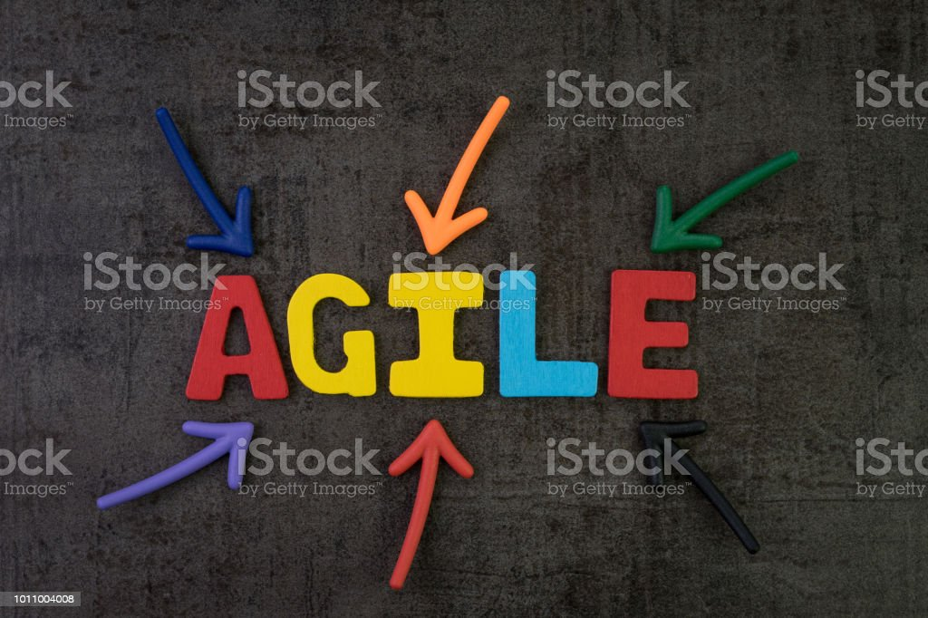 Agile development, new methodology for software, idea, workflow management concept, multi color arrows pointing to the word AGILE at the center of black cement chalkboard wall, fast and flexible stock photo