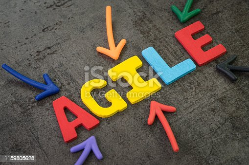 1180722244 istock photo Agile development, new methodology for software, idea, workflow management concept, multi color arrows pointing to the word AGILE at the center of black cement chalkboard wall, fast and flexible 1159805628