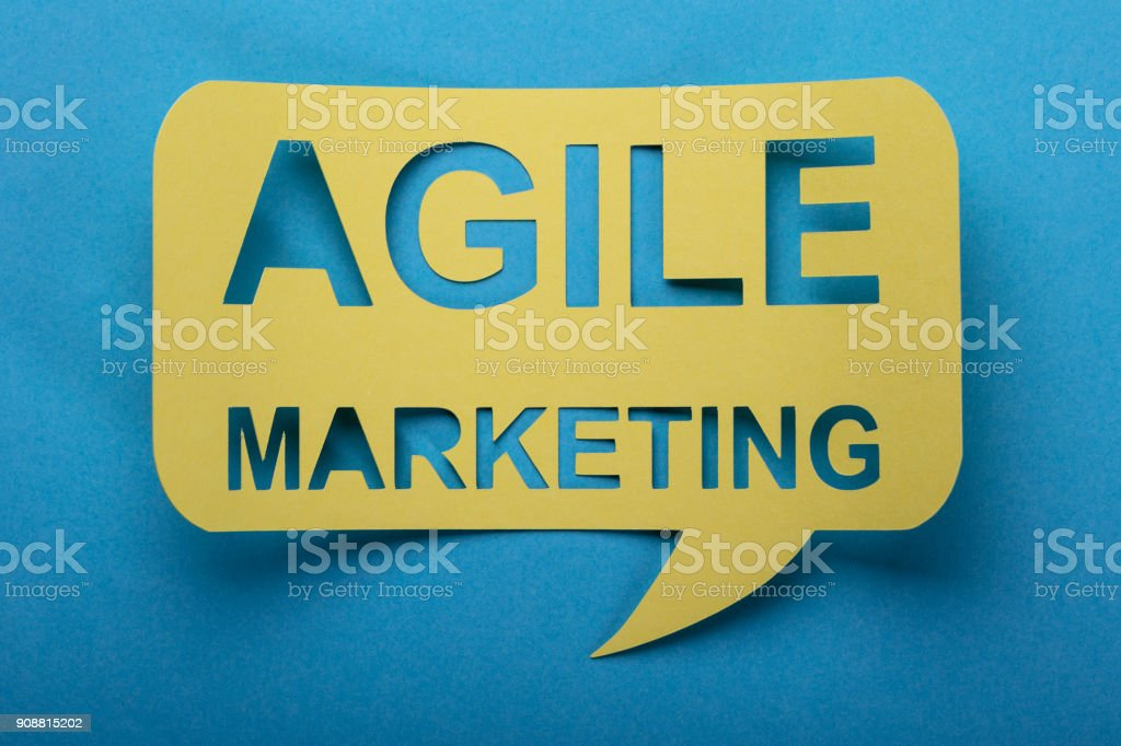 Agile Marketing Words On Speech Bubble stock photo