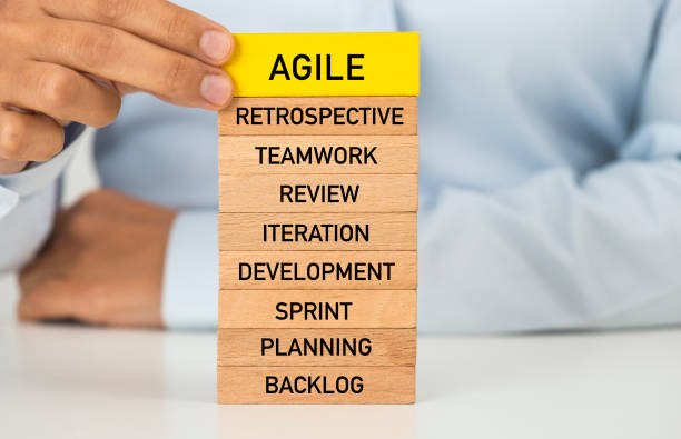 Agile Businesswomen building up agile tower. agility stock pictures, royalty-free photos & images
