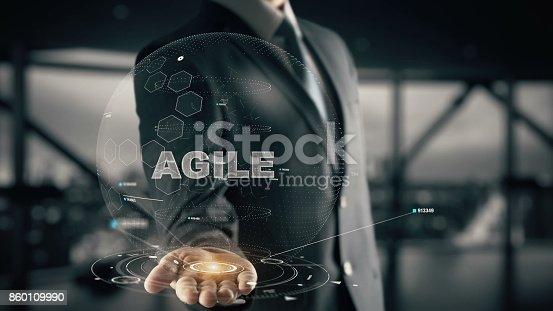 844020228 istock photo Agile with hologram businessman concept 860109990