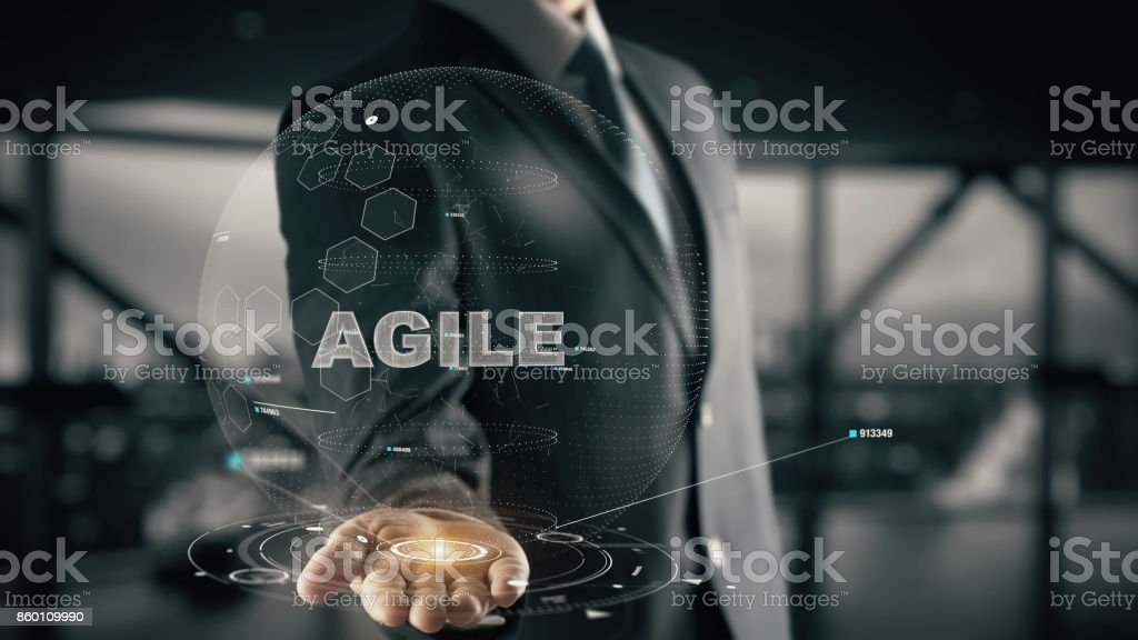 Agile with hologram businessman concept stock photo