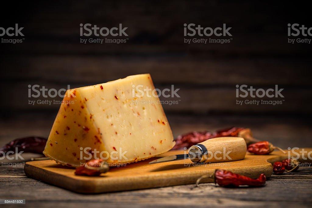 Aging artisan cheese stock photo