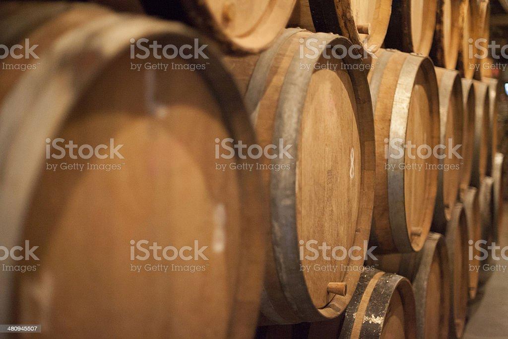 Aging barrels. stock photo