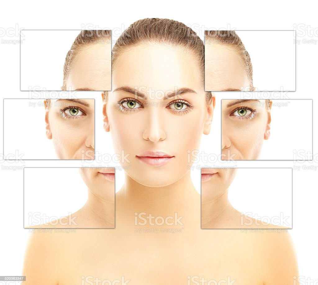 Aging. Face of girl  and woman with wrinkles stock photo