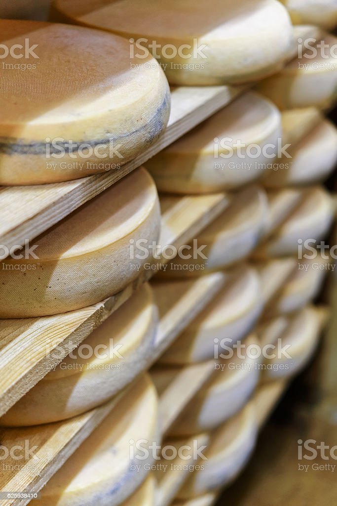 Aging Gruyere Comte Cheese at maturing cellar at dairy stock photo