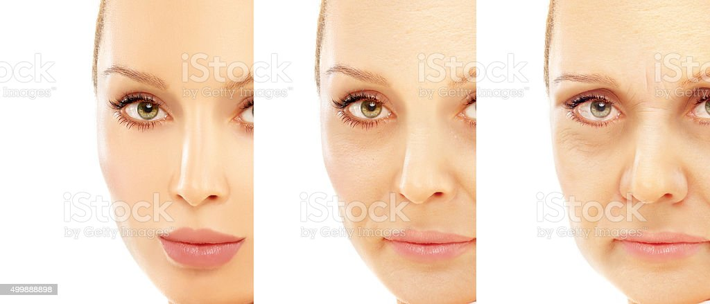 Aging. Mature woman-young woman. stock photo