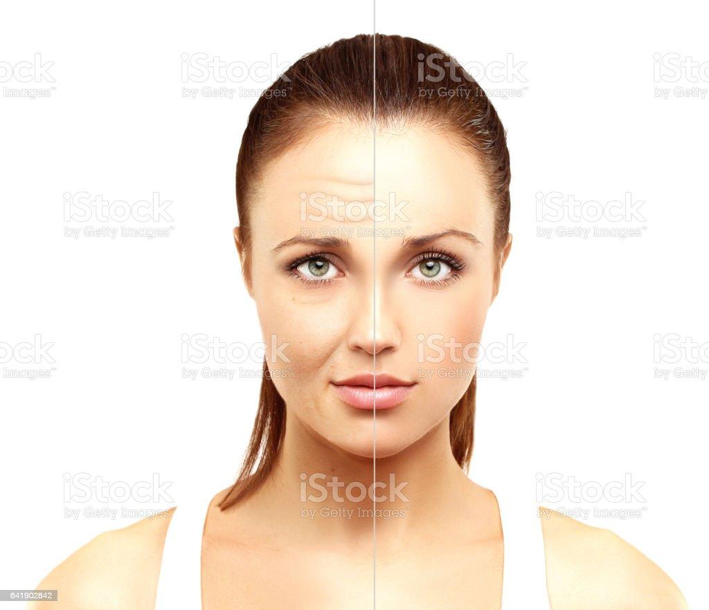 El envejecimiento.   Mujer madura-Mujer joven.   - foto de stock