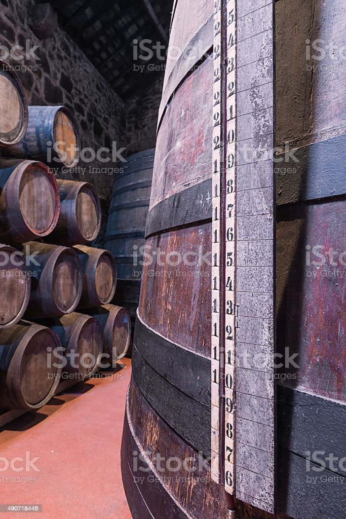 Aging Port wine in cellar stock photo