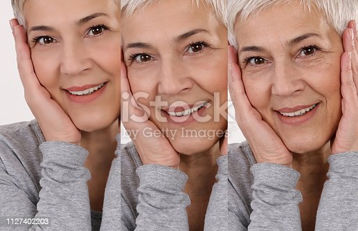 istock Aging process concept. Anti-aging procedures, facial lifting, old and young skin compare 1127402203