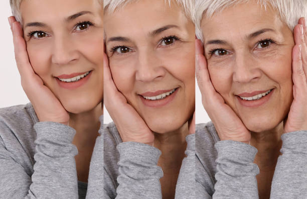 Aging process concept. Anti-aging procedures, facial lifting, old and young skin compare Aging process concept. Anti-aging procedures, facial lifting, old and young skin compare young at heart stock pictures, royalty-free photos & images