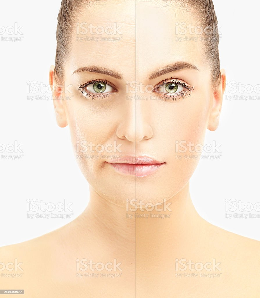 Aging process. face of young girl and woman with wrinkles stock photo