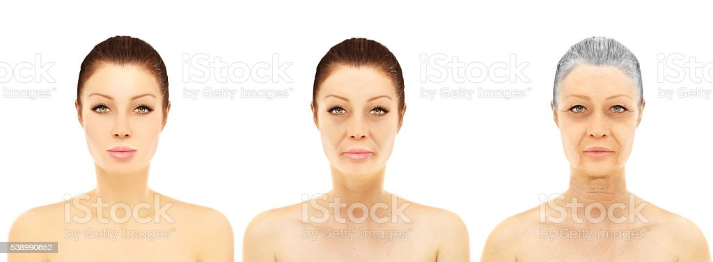 Aging. Young woman-Mature woman-Senior woman stock photo