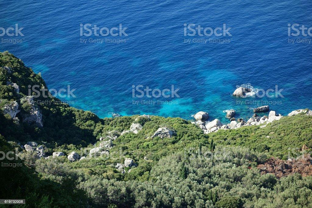 Agios Georgios Bay, Corfu Trail, Greece stock photo