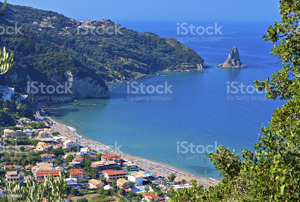 Agios Gordios beach at Corfu island in Greece stock photo