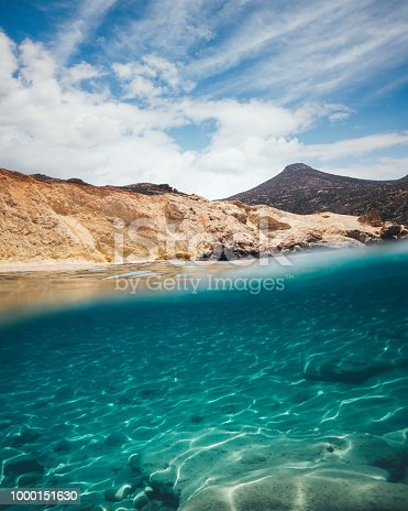 Personal perspective from the water: view on Agios Ioannis beach on Milos Island (Cyclades, Greece).