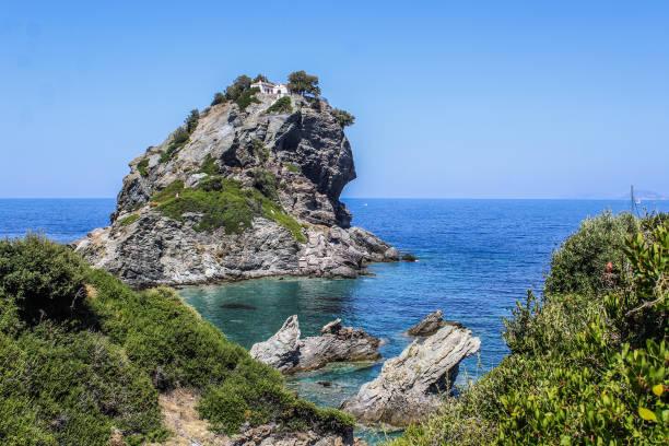 agios ioannis mamma mia- seaside of greek island skopelos - mamma mia stock photos and pictures