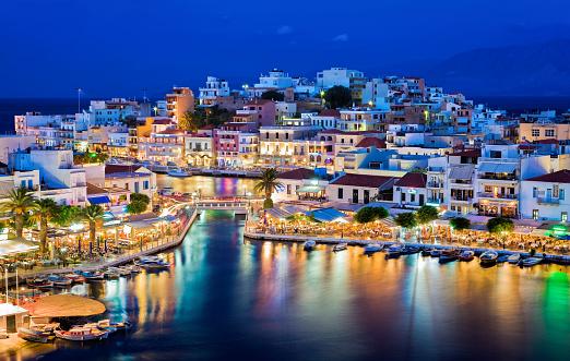 Agios Nikolaos at night. Crete, Greece