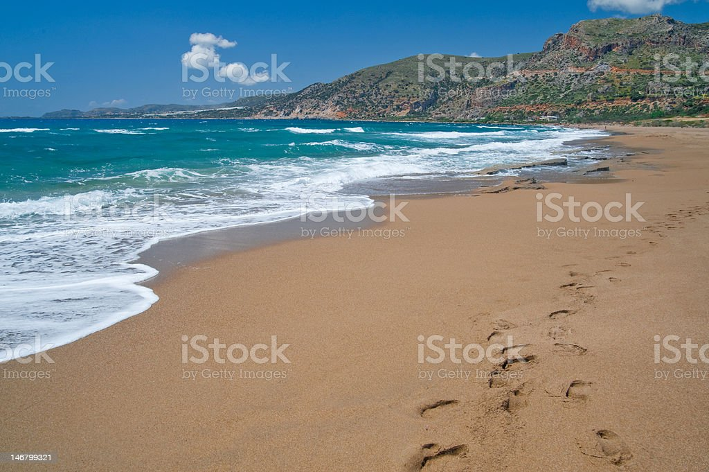 Agios Nikolaos Beach in Crete, Greece. stock photo