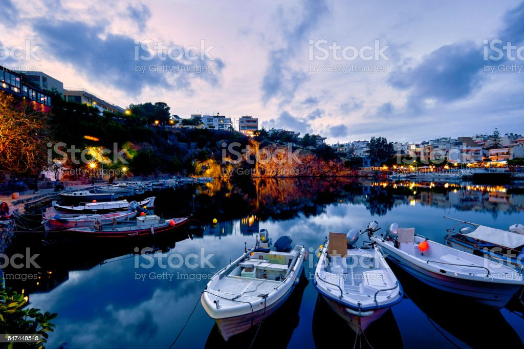 Agios Nikolaos City Lake Crete Greece stock photo