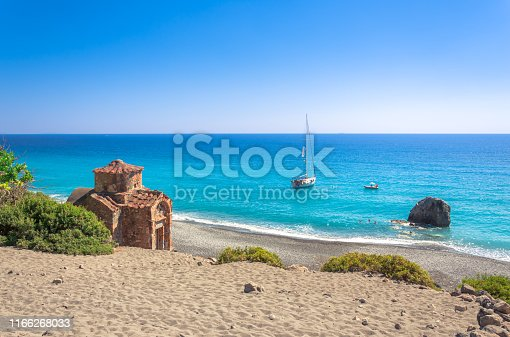 Agios Pavlos beach with Saint Paul church, a very old Byzantine church that was built at the place Selouda, an incredible beach at Opiso Egiali area, Chania, Crete, Greece.