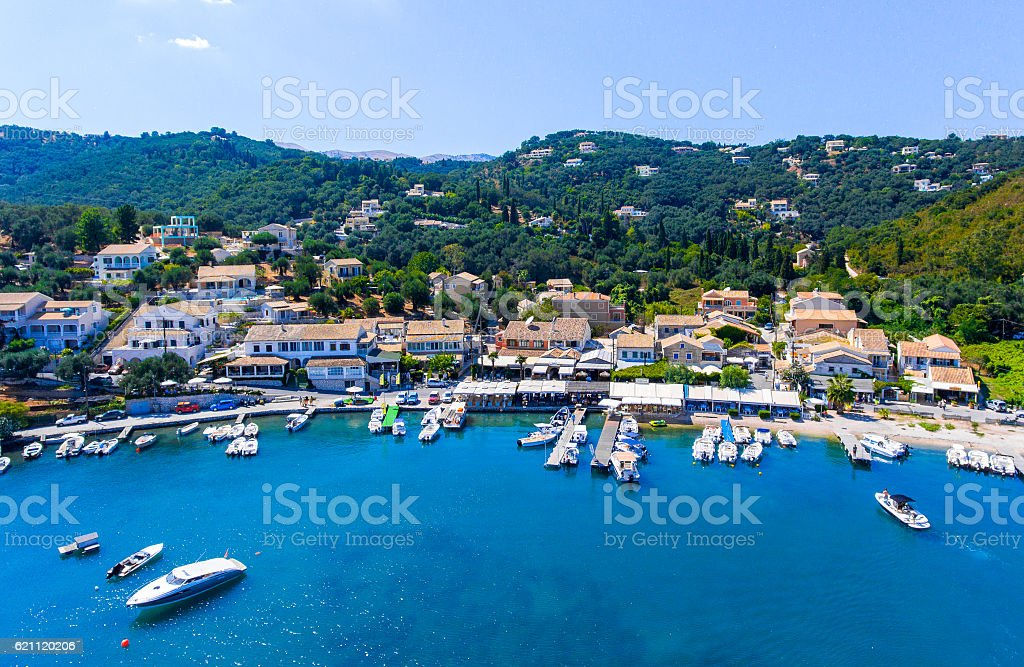 Agios Stefanos bay, one of the most beautiful fishing villages stock photo