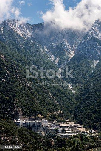 Agiou Pavlou monastery from the sea in Halkidiki, Athos, Greece.