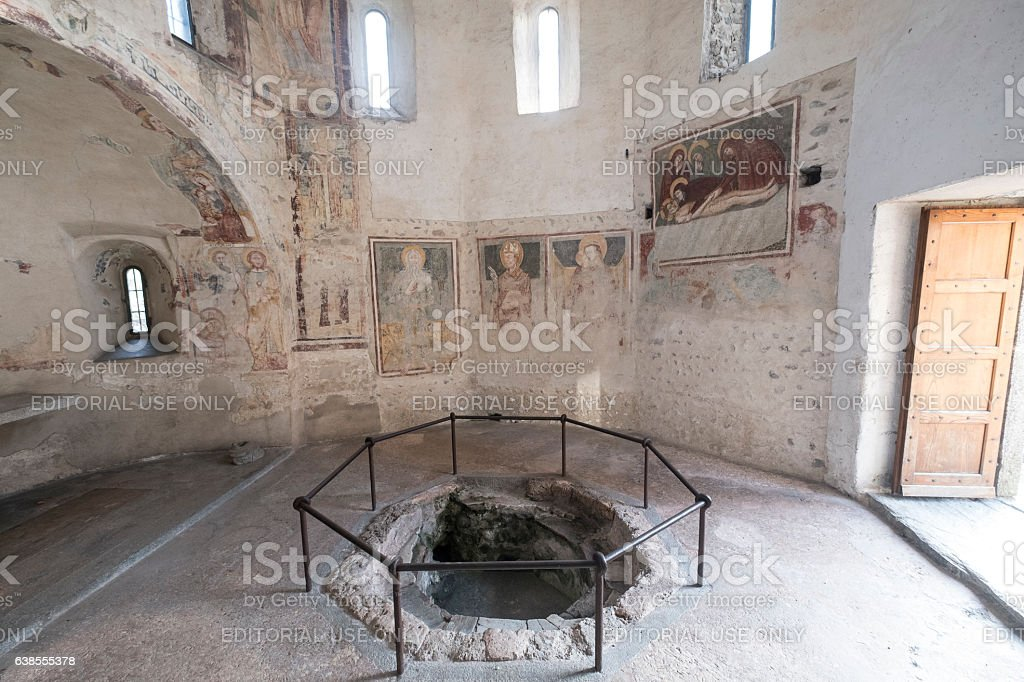 Agliate Brianza (Italy): historic church, baptistery stock photo