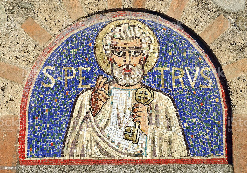Agliate (Milan, Lombardy, Italy), Romanesque church of Saint Peter (mosaic) royalty-free stock photo