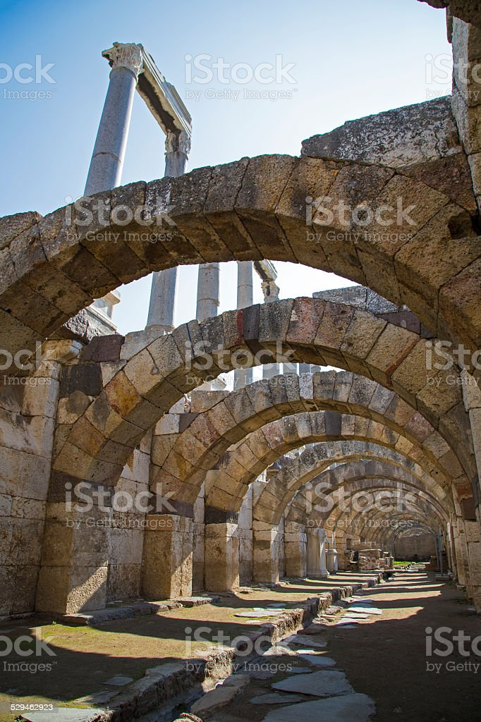 Agora of Smyrna with columns Izmir Turkey 2014 stock photo