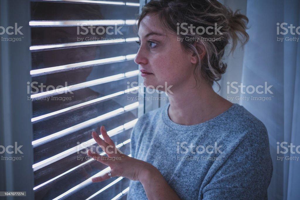 Agoraphobia symptoms and woman feeling bad stock photo