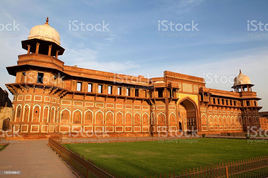 Agra Fort landscape in Agra, India with lawn in foreground stock photo