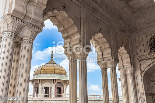 istock Agra Fort musamman burj dome with blue sky background, Agra Fort beautiful ancient architecture, UNESCO World heritage site at Agra, India. 1220370105