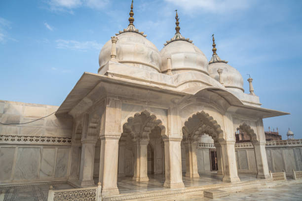 Agra Fort Nagina Masjid - a white marble architectural mosque at Agra Fort used by the women of the Royal harem. stock photo