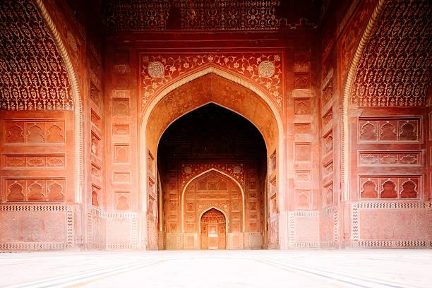 Agra Jama Masjid Mosque exterior, India stock photo