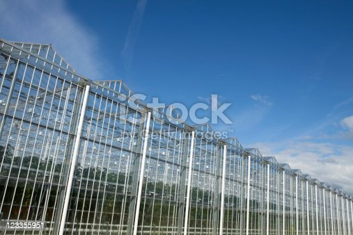 exterior of an agrarian greenhouse against a clear blue sky