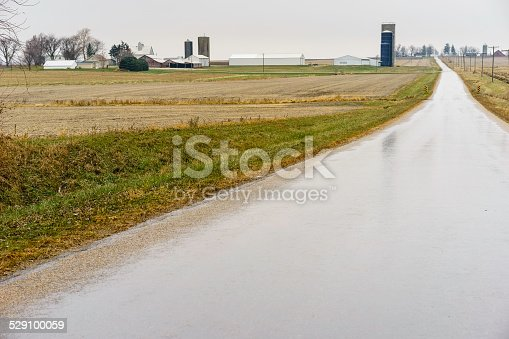 istock Agrarian landscape on a rainy day in the American Midwest 529100059