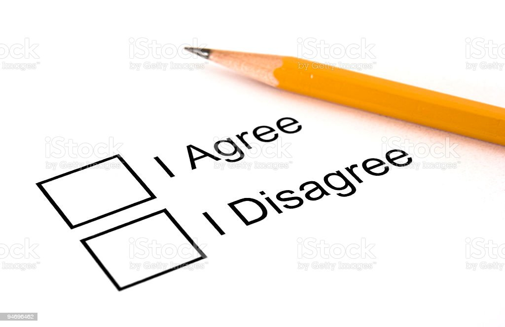 Agree or Disagree Checkbox Choices royalty-free stock photo
