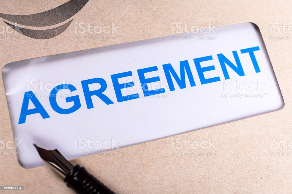 Agreement in brown envelope, can use business contract concept stock photo
