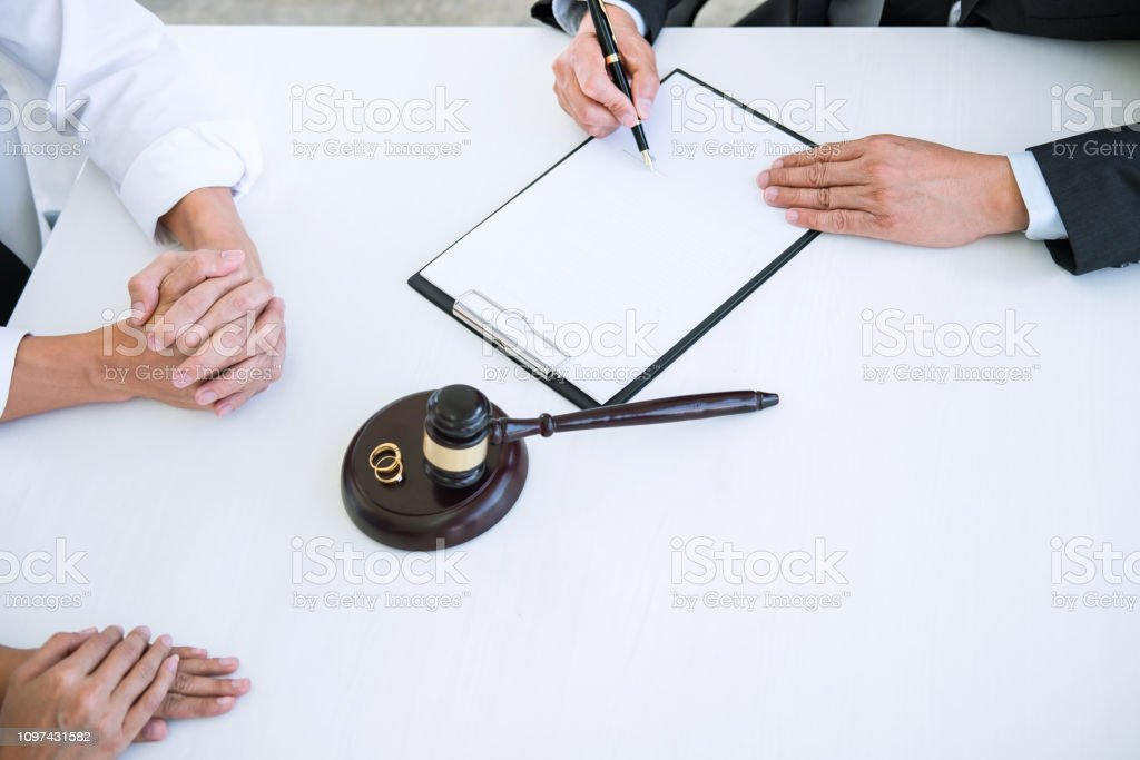 Agreement prepared by lawyer signing decree of divorce of marriage,...
