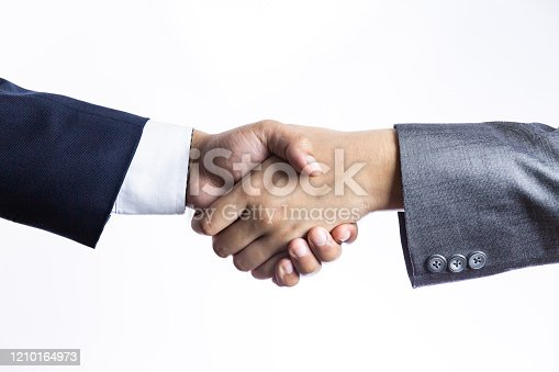 istock agreement symbol concept on white background, close up businessmen is handshake to contact about them business support, Business coworker background. 1210164973