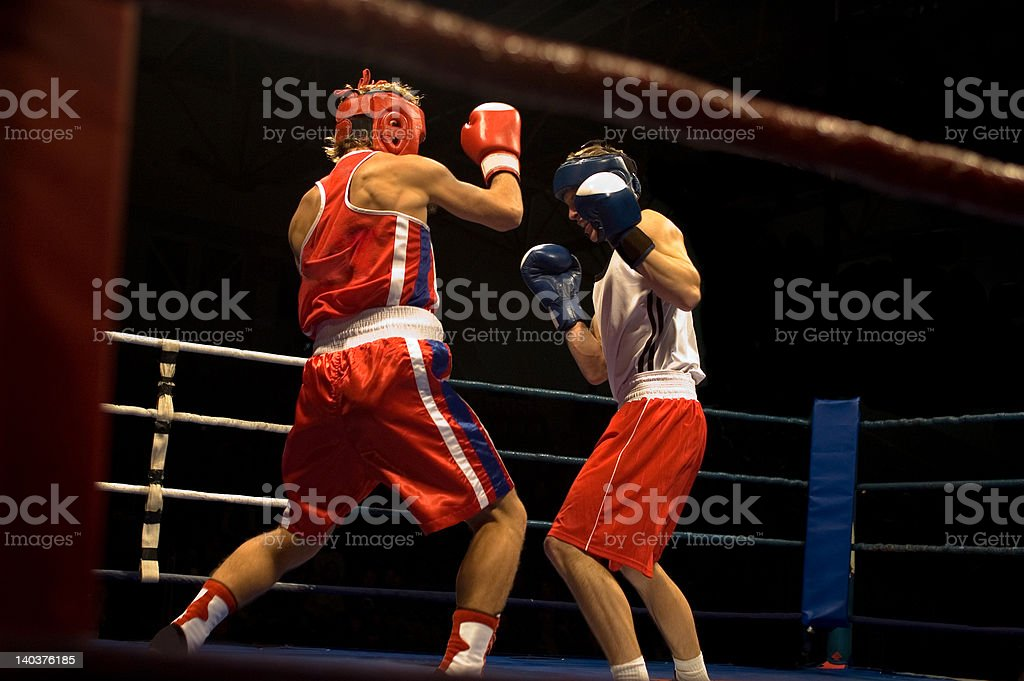 Agressive boxing fight stock photo