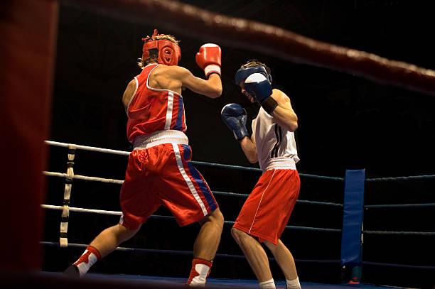 Agressive boxing fight stock photo