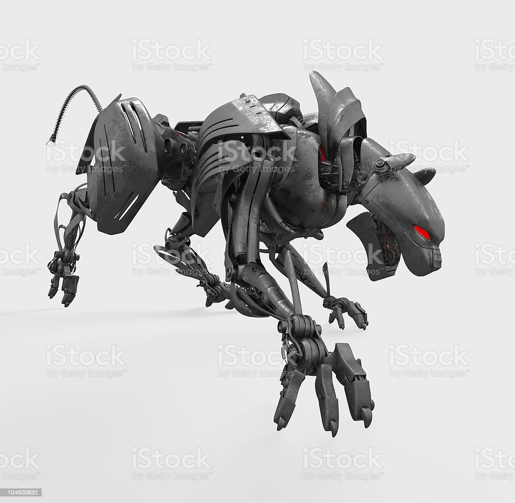 Agressive cyber wild metal panther stock photo